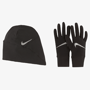 Набор:шапка, перчатки NIKE WOMENS ESSENTIAL RUNNING HAT AND GLOVE SET BLACK/BLACK/SILVER XS/S